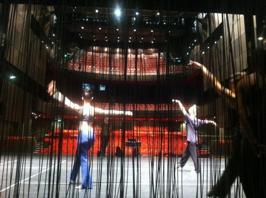 Rehearsing on stage at Sadler's Wells